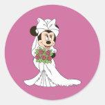 Novia de Minnie Mouse Pegatina Redonda