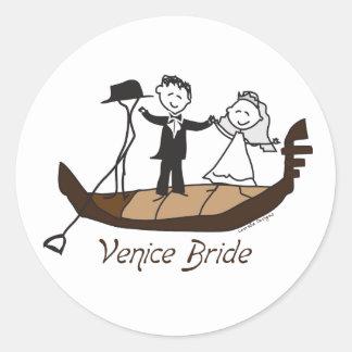 Novia de Venecia Italia Etiqueta Redonda