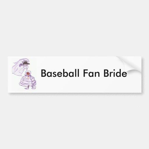 Novia del aficionado al béisbol etiqueta de parachoque