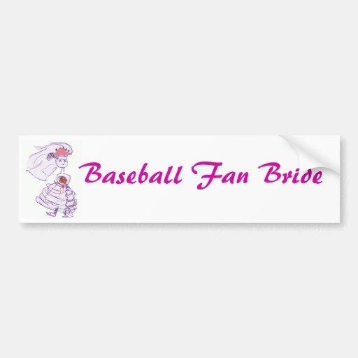 Novia del aficionado al béisbol pegatina de parachoque