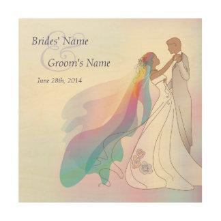 Novia del arco iris y recuerdo 2 del boda del cuadro de madera