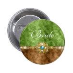 Novia del boda del damasco del oro de Brown Pins