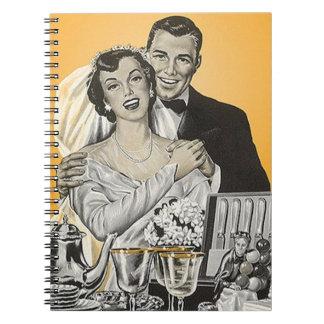 Novia del boda del vintage del cuaderno y libro de
