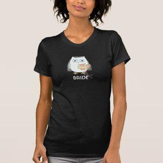 Novia del búho - diseño de la diversión con el tex camiseta