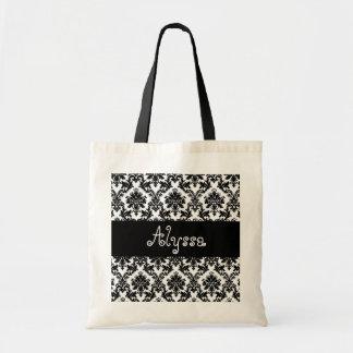 Novia del damasco o regalo blanca negra de la dama bolsas