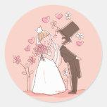 Novia del dibujo animado y pegatina rosado del