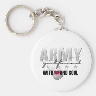 Novia del ejército con el corazón y el alma llavero redondo tipo pin