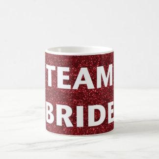 Novia del equipo brillo rojo tazas de café