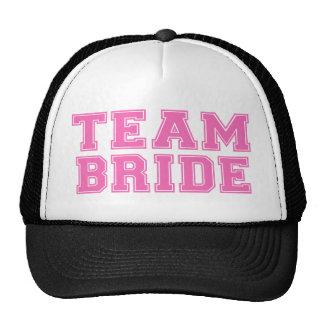 Novia del equipo rosa gorros bordados