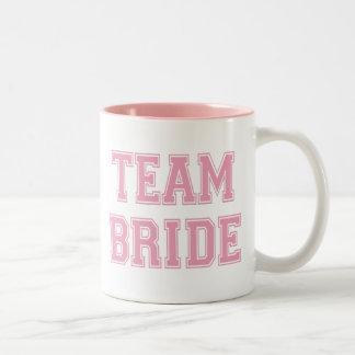 Novia del equipo taza de café de dos colores