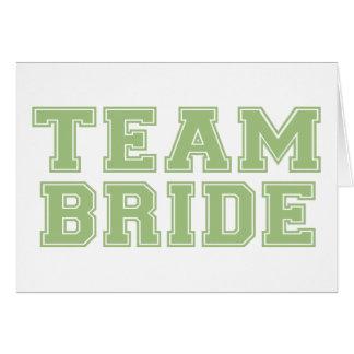 Novia del equipo (verde) tarjeta de felicitación