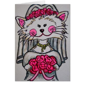 Novia del gatito a ser tarjeta de la nota/de felic