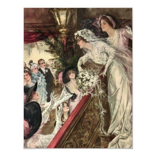 Novia del recién casado del Victorian del vintage Invitación 10,8 X 13,9 Cm