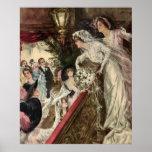 Novia del recién casado del Victorian del vintage Póster