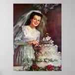 Novia del recién casado del vintage que corta su poster
