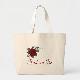 Novia del rosa rojo del KRW para casar el tote Bolsa Tela Grande