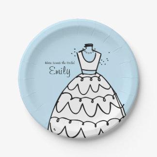 Novia del soporte del vestido (a) plato de papel de 7 pulgadas
