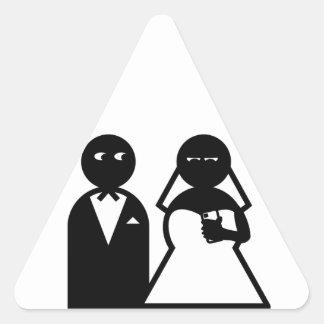 Novia del teléfono celular en el boda pegatinas de trianguladas