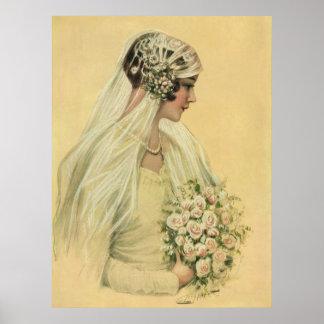 Novia del Victorian del vintage en retrato nupcial Póster