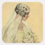 Novia del Victorian del vintage en retrato nupcial Pegatinas Cuadradases