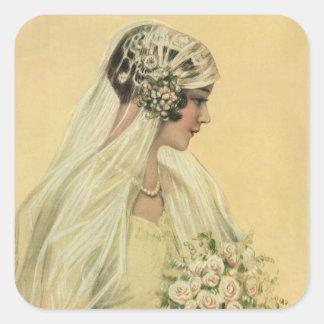 Novia del Victorian del vintage en retrato nupcial Pegatina Cuadrada