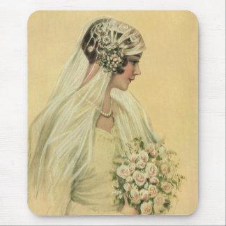 Novia del Victorian del vintage en retrato nupcial Tapetes De Ratón