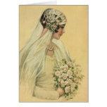 Novia del Victorian del vintage en retrato nupcial Tarjeta De Felicitación