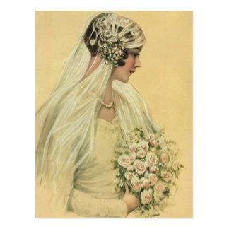 Novia del Victorian del vintage en retrato nupcial Tarjeta Postal
