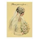 Novia del Victorian del vintage, invitación nupcia