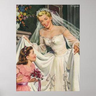 Novia del vintage con el florista en su día de bod posters