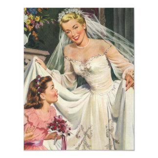 Novia del vintage con el florista en su día de invitaciones personales