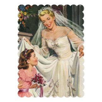 Novia del vintage con la ducha nupcial del invitacion personalizada