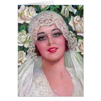 Novia del vintage con los rosas tarjeta pequeña