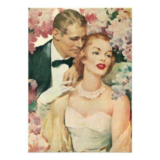 Novia del vintage y recienes casados y flores del  invitacion personal