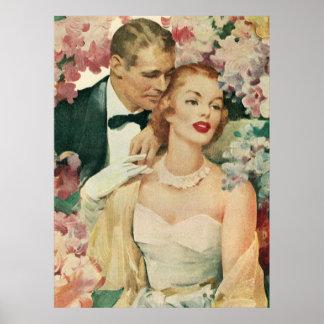 Novia del vintage y recienes casados y flores del impresiones