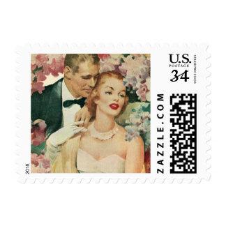 Novia del vintage y recienes casados y flores del sello