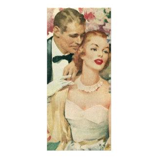 Novia del vintage y recienes casados y flores del tarjetas publicitarias a todo color
