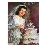 Novia del vintage y su pastel de bodas invitación 13,9 x 19,0 cm