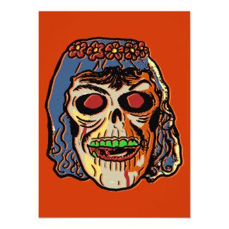 Novia del zombi - máscara de Halloween del vintage Invitacion Personalizada