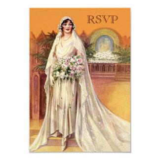 Novia elegante de los años 30 del vintage que casa invitación 8,9 x 12,7 cm