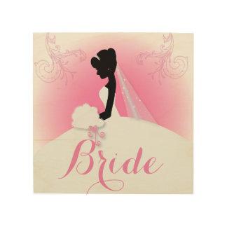 novia elegante rosada moderna de la silueta de la impresión en madera