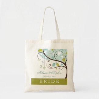 Novia elegante verde y pájaros azules del amor que bolsa