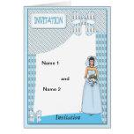 Novia en azul tarjeta de felicitación