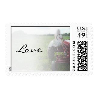 Novia en el boda del amor del país del tractor de timbre postal