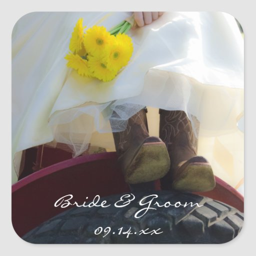 Novia en los pegatinas del boda del país del calcomanias cuadradas