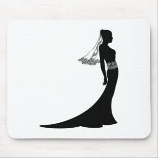 Novia en silueta del vestido de boda tapete de ratón