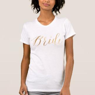 Novia/falso oro/escritura moderna del cepillo camisas