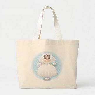 novia feliz bolsa tela grande