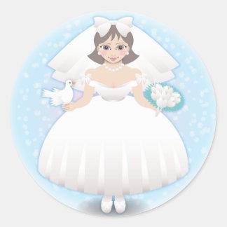 novia feliz pegatina redonda