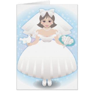 novia feliz tarjeta de felicitación